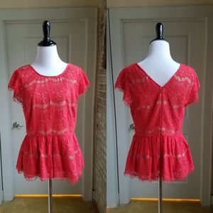 Anthropologie Maeve Peplum Lace Red Top, M